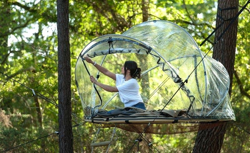 tente bulle au dihan dormir dans une bulle suspendue en. Black Bedroom Furniture Sets. Home Design Ideas